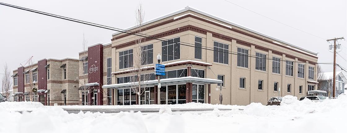 Integra Building in Winter Snow